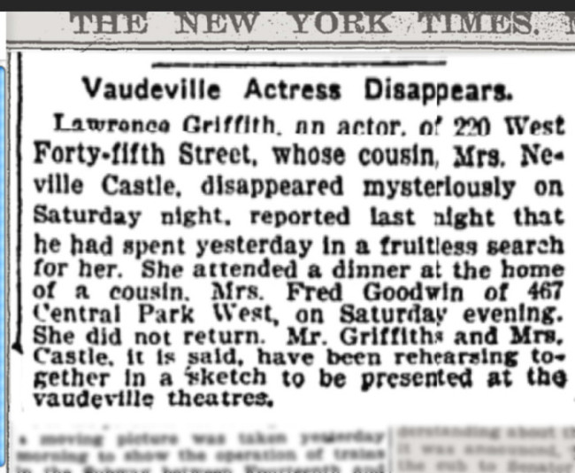 Actress Disappears -NYT 1901